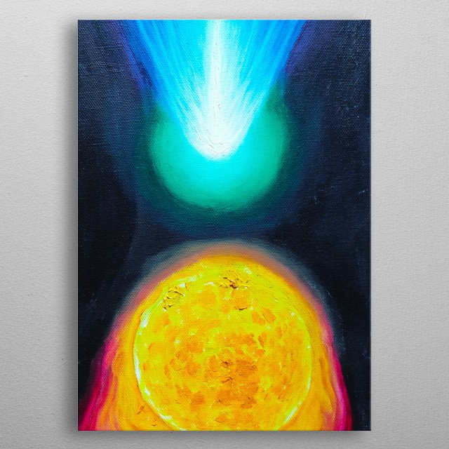 My painting of the sun and a comet metal poster