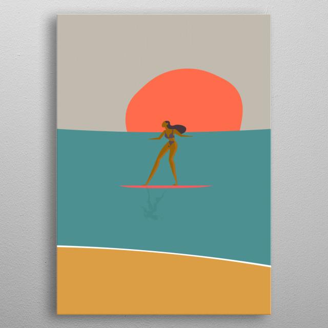 girl surfing metal poster