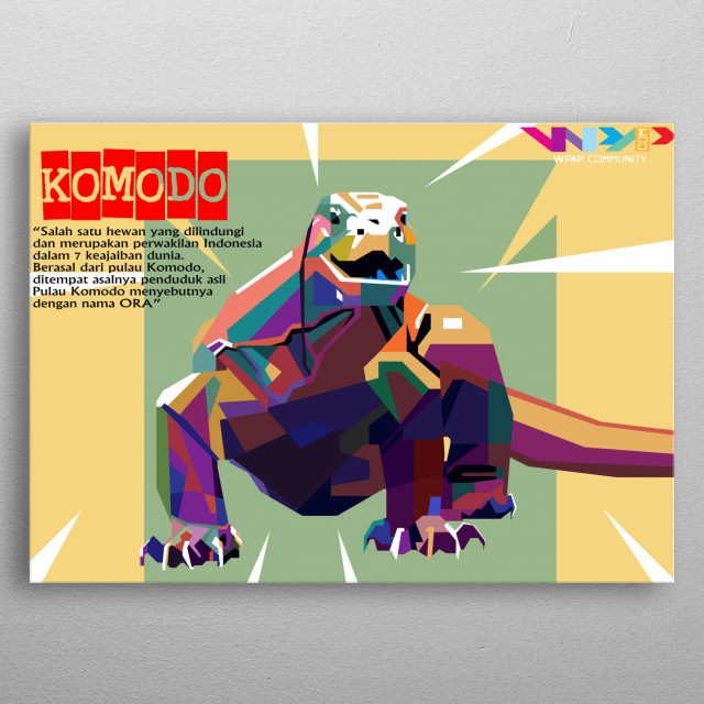 Komodo Dragon Pop Art Poster Print Metal Posters Displate