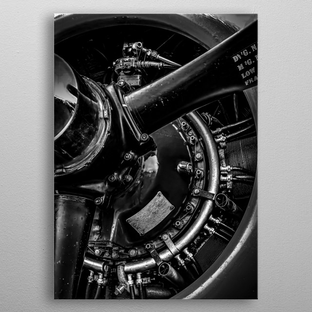 Closeup of world war two bomber engine mfg by Wright Aeronautical. Black and white photography by Bob Orsillo metal poster
