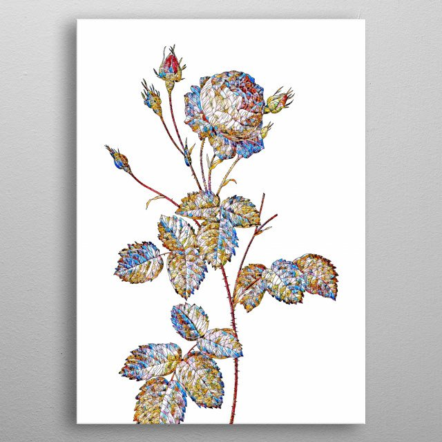 Prismatic Stained Glass Botanical!!! Digitally rendered, crystalline and rainbow colored. Set on plain background.  metal poster