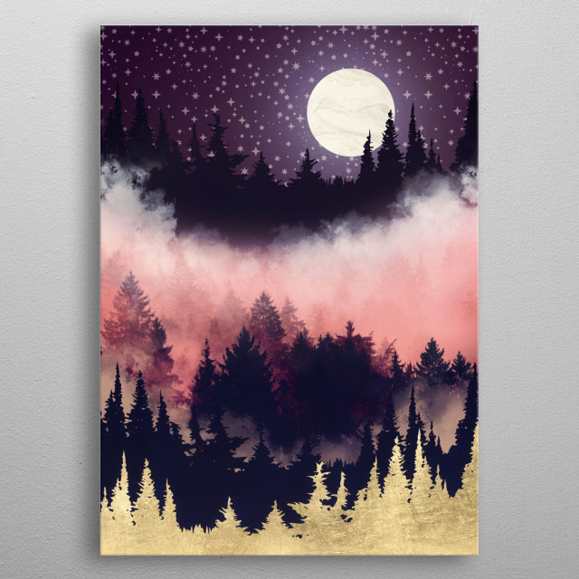 Abstract landscape of an evening glow with trees, mist, gold, mauve and pink metal poster