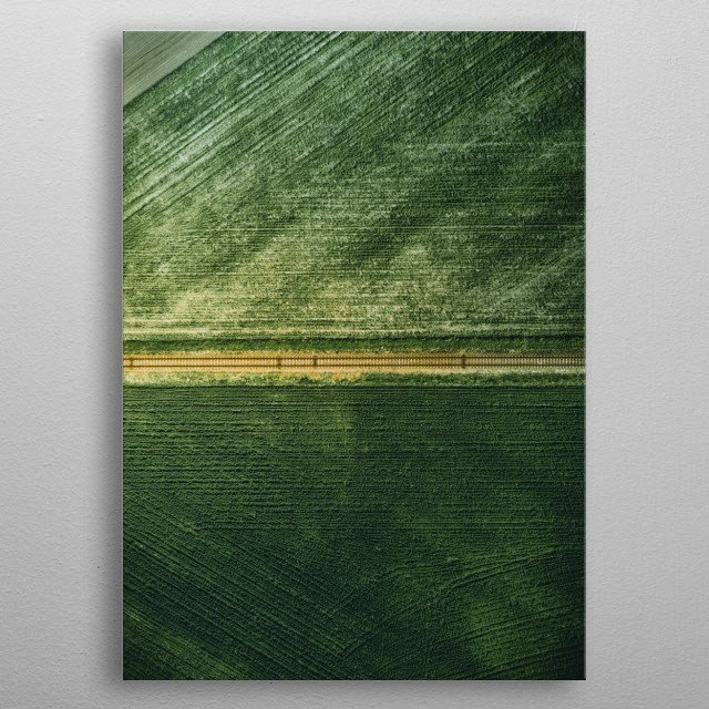 Aerial shot of some railway in Poland. Dark green color. metal poster