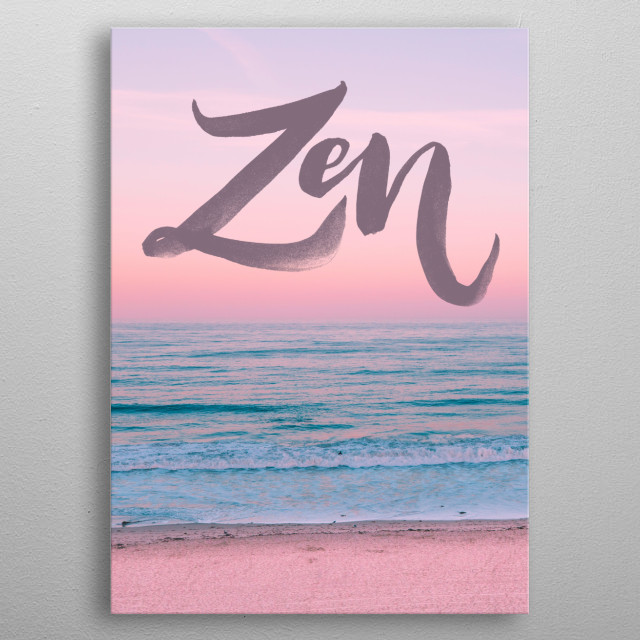 Yoga quotes and sayings with zen background image metal poster