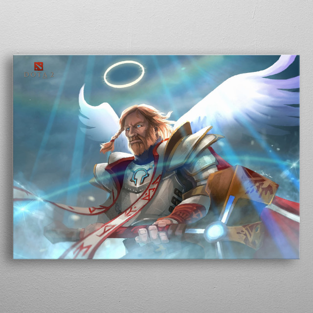 is a melee strength hero who is renowned for his ability to protect his allies, preventing the enemy from easily killing them.  metal poster