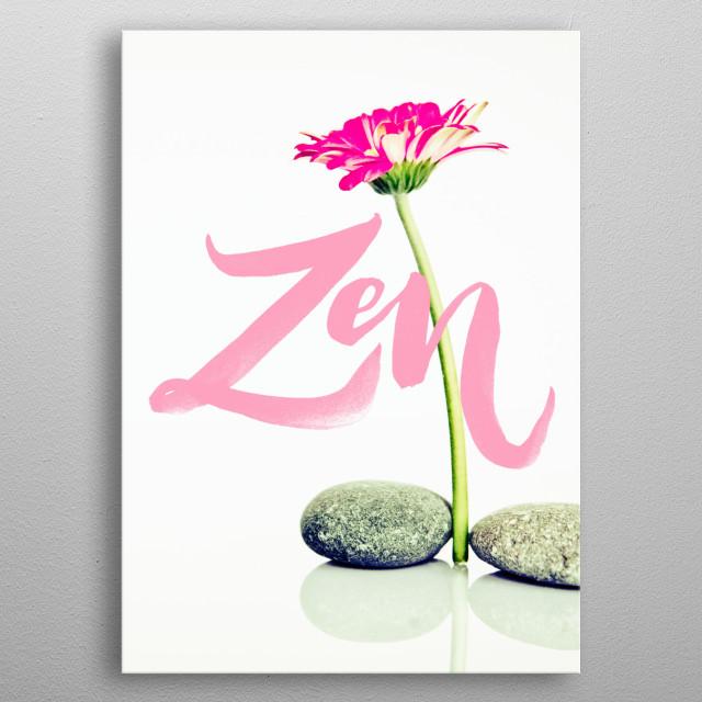 Zen yoga typography text art metal poster