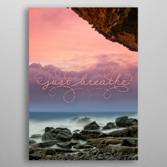 Just Breathe typography text art yoga poster  metal poster