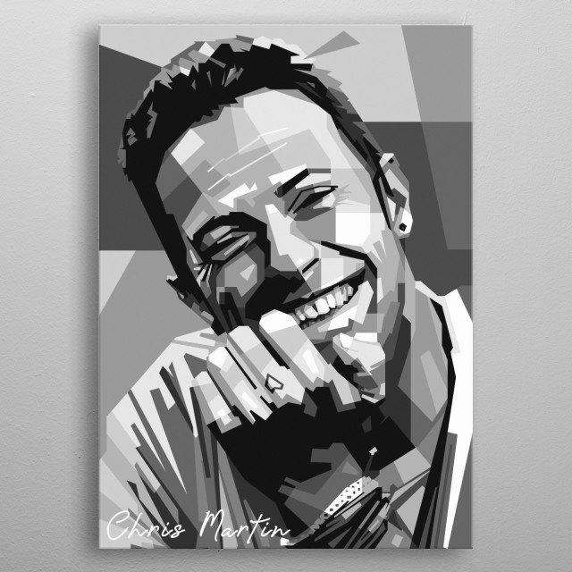 An geometric illustration of Chris Martin metal poster