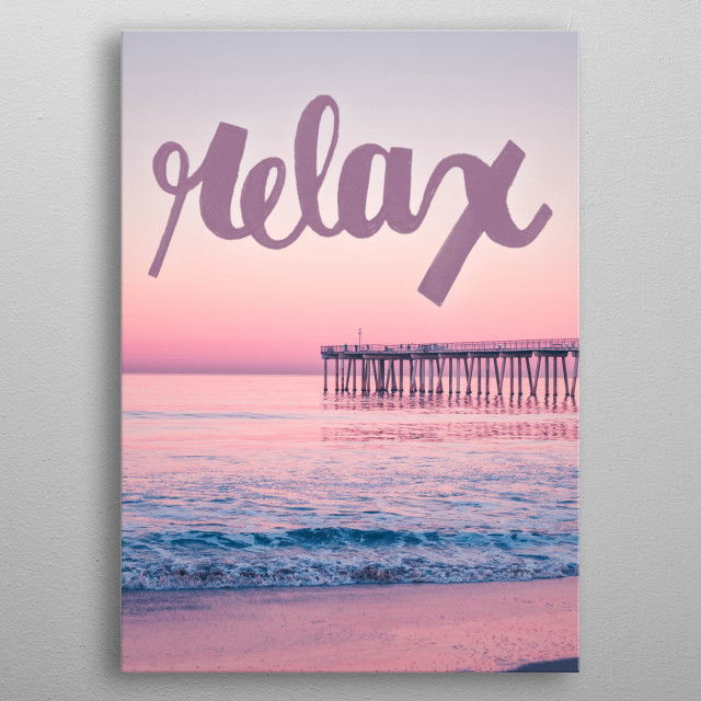 Relax typography text art with beach sunset for yoga zen metal poster