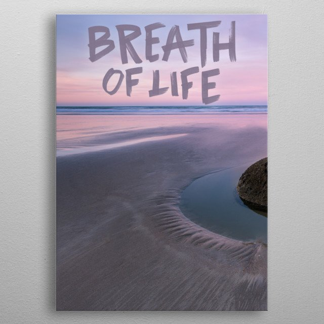 Breath of life typography text art yoga beach poster metal poster