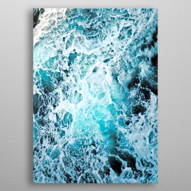 An abstract capture of beautiful seafoam textures. metal poster