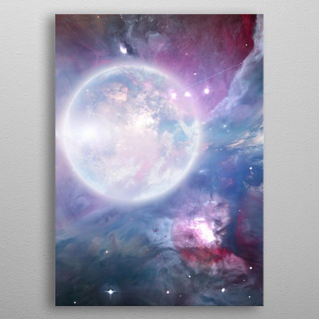 Bright moon in vivid nebulous deep space metal poster