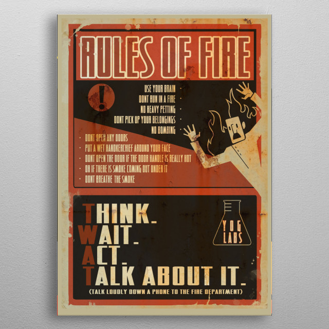 What to do if a fire breaks out in YogLabs metal poster