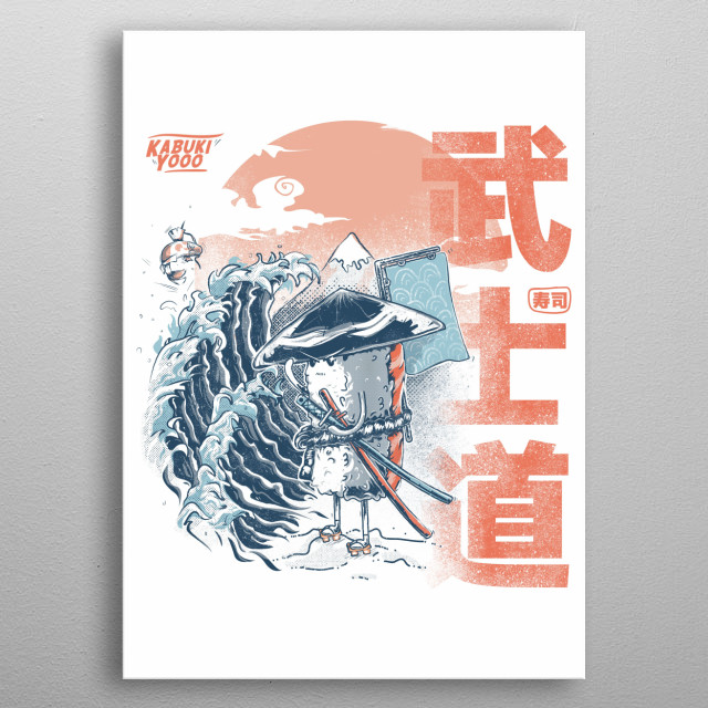 Design inspired by sushi and samurai metal poster