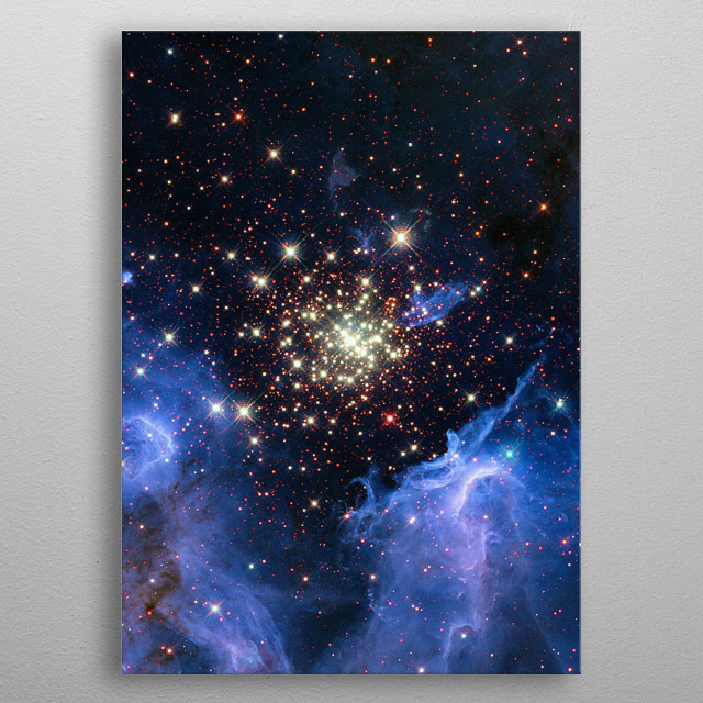 This is a NASA photo of a wonderful star cluster. metal poster