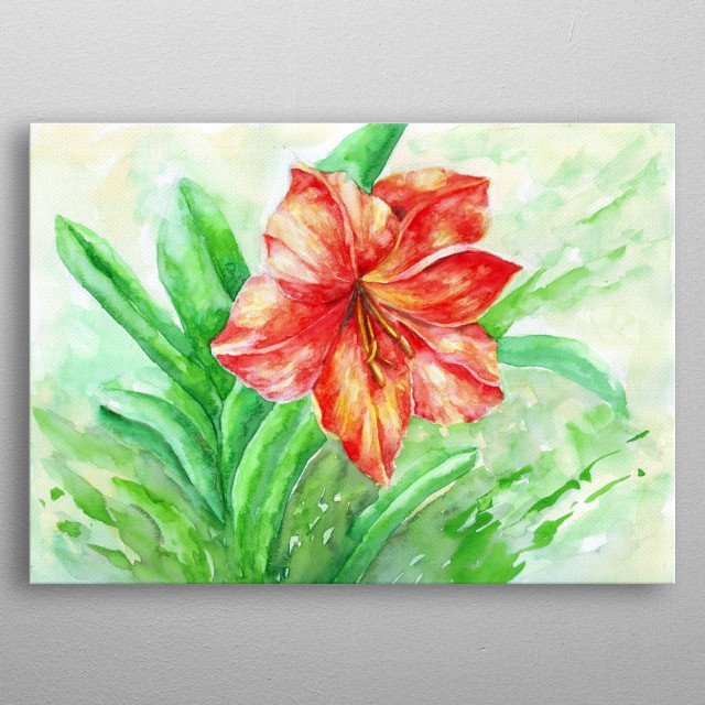 Watercolor painting of a flower metal poster