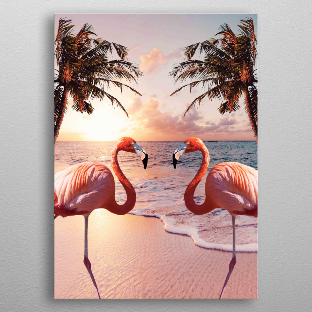 Pick up this cute colorful flamingo palm tree design. This makes a perfect gift so pick one up today.  metal poster