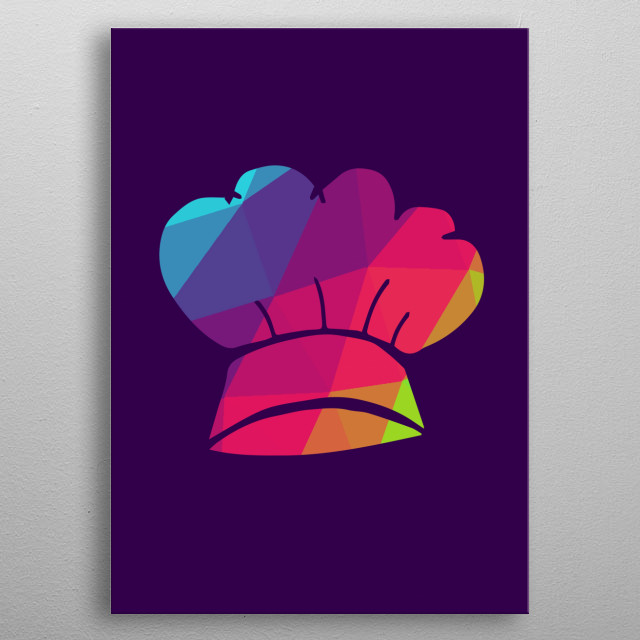 Cute and Colorful Rainbow Polygon of Chef Hat Cooking Icon. Nice Gift for Mom, Dad, Kids, Sister, Brother, Uncle, and Aunt. metal poster