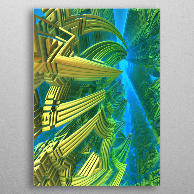 An underwater realm, created with Mandelbulb 3D fractal software. metal poster