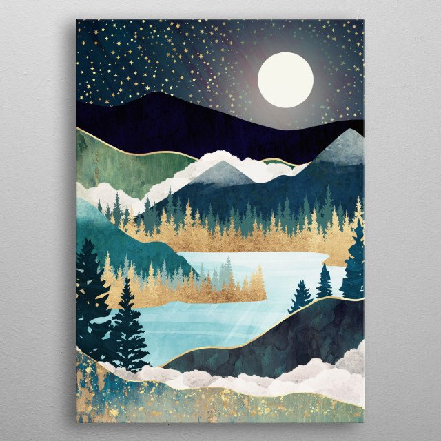 Abstract landscape of a lake with stars, mountains, trees, gold and blue  metal poster