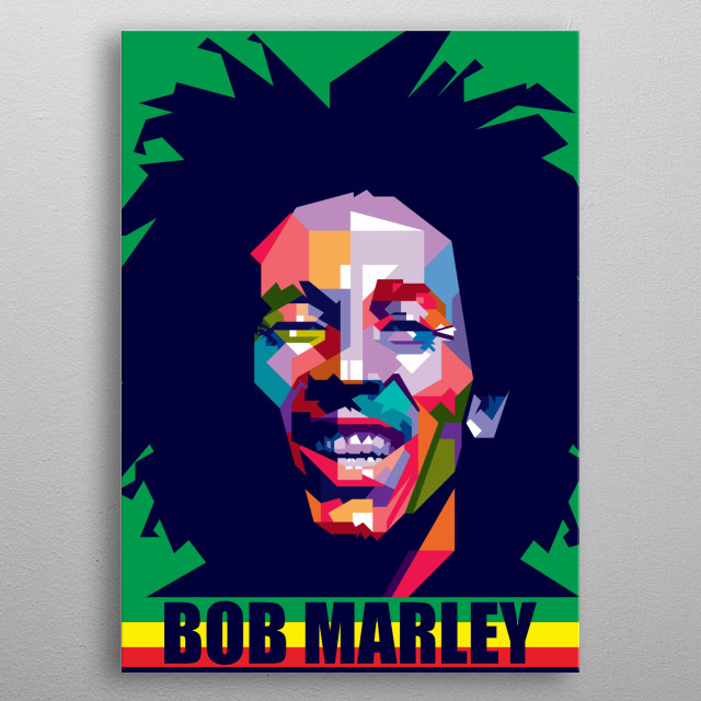 Bob Marley Design Illustration Colorful Style Pop Art metal poster