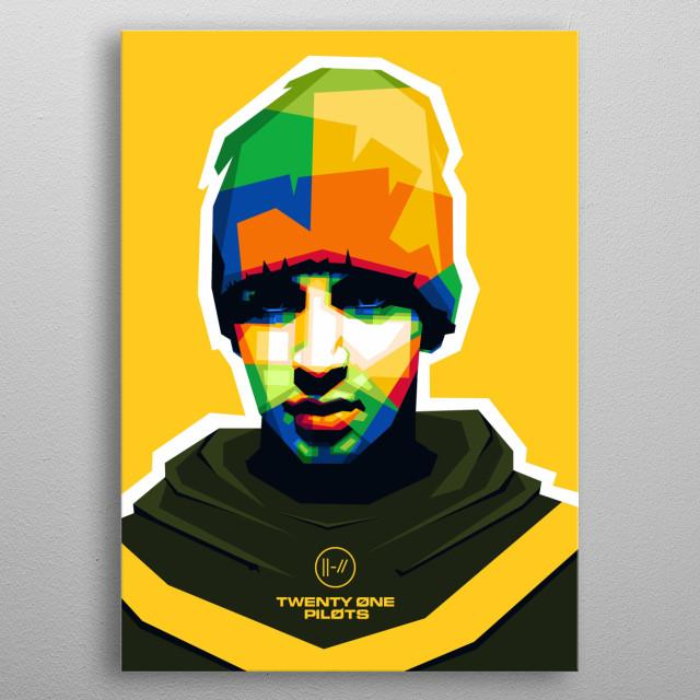 Popart illustration of Tyler Joseph, Twenty One Pilots vocalist. metal poster