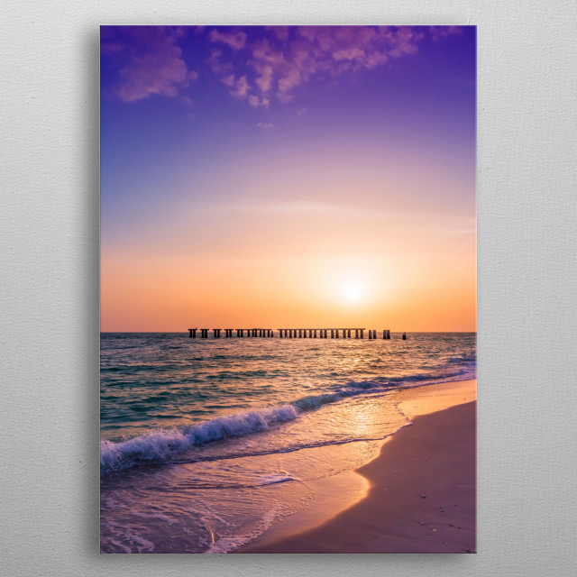 Gasparilla Island State Park is located at the southernmost point of Boca Grande, Florida. Charming evening atmosphere during sunset. metal poster