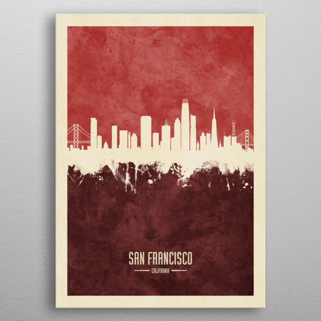 Watercolor art print of the skyline of San Francisco, California, United States metal poster
