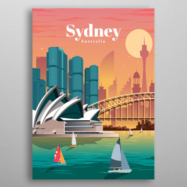 Digital illustration of Sydney's city skyline and architecture of the Opera House, by their famous harbour. metal poster