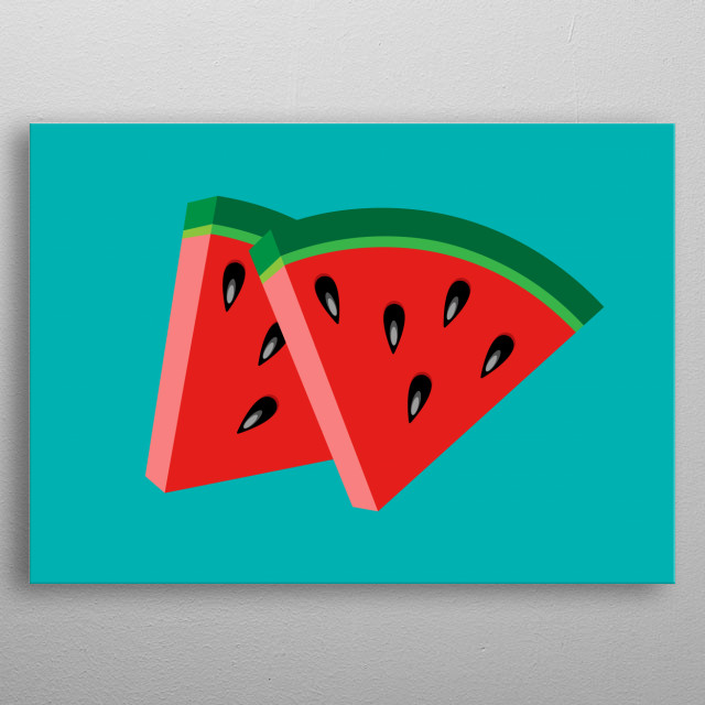Minimalistic illustration themed on melons. Part of my Fruit collection metal poster