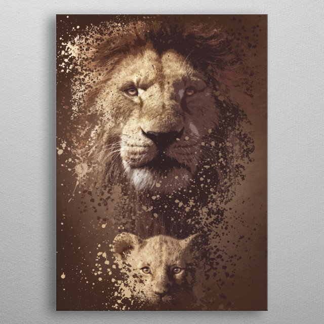 Splatter artwork inspired by the Lion King universe. metal poster
