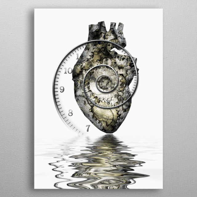 Human heart gears and time spiral metal poster