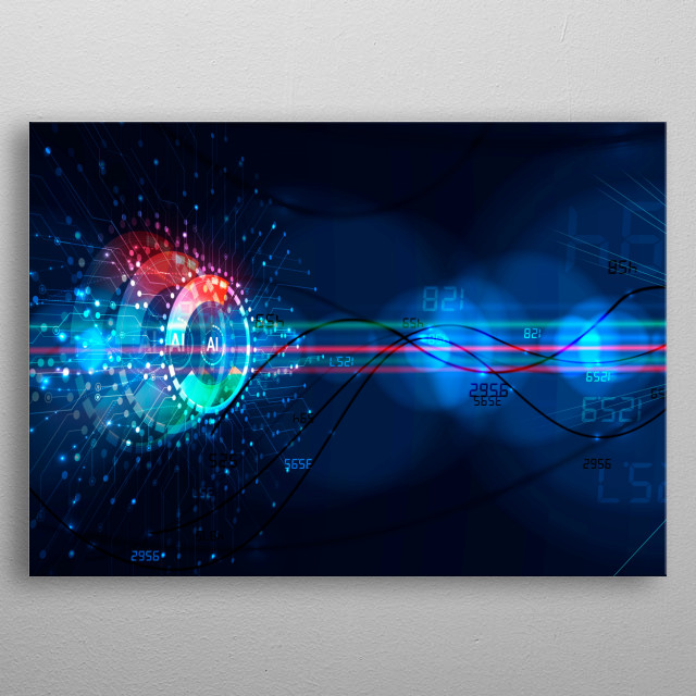 Abstract Artificial intelligence. Technology web background. Virtual concept metal poster