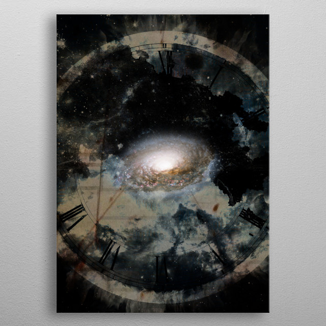 Dark art. Ancient clock-face and galaxy symbolizes time  metal poster