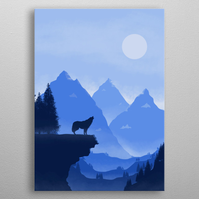 Illustration of a wolf howling at the moon, with and icy mountain range in the background. metal poster