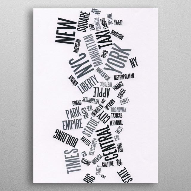 Words Cloud. New York, Manhattan metal poster