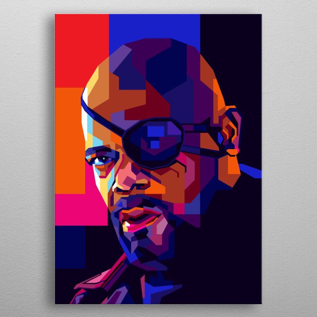 Illustration colorful Samuel L Jackson with Pop Art modern style.  metal poster