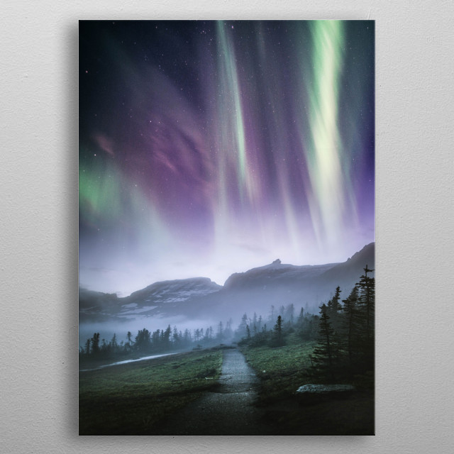 High-quality metal print from amazing Aurora Northern Lights collection will bring unique style to your space and will show off your personality. metal poster