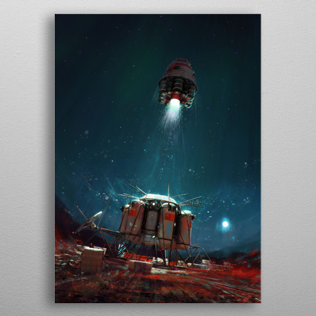 """""""Ambition 1"""" ascent module launching from the surface of Mars.  metal poster"""