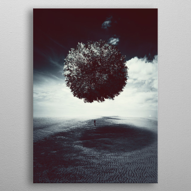 Tree planet hovering over an empty plain with a man standing in its shadows metal poster