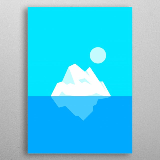 The iceberg floating in the ocean in a calm motion metal poster