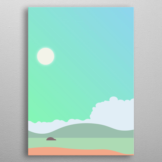 Some summer art of a bay, complete with sun, sky, sand and sea! metal poster