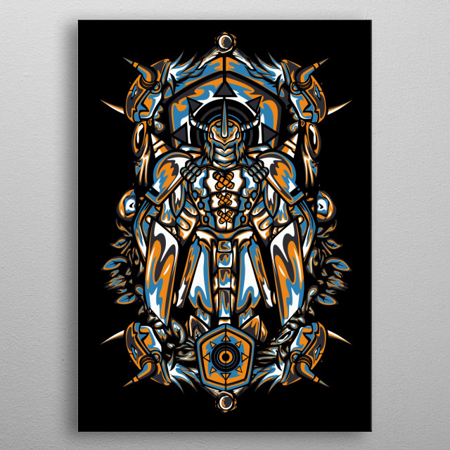 """WarGreymon is a Dragon Digimon. The strongest dragon warrior whose body is clad in armor of the super-metal """"Chrome Digizoid"""", metal poster"""
