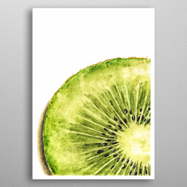 Kiwi fruit or Chinese gooseberry, is the edible berry of several species of woody vines in the genus Actinidia. metal poster