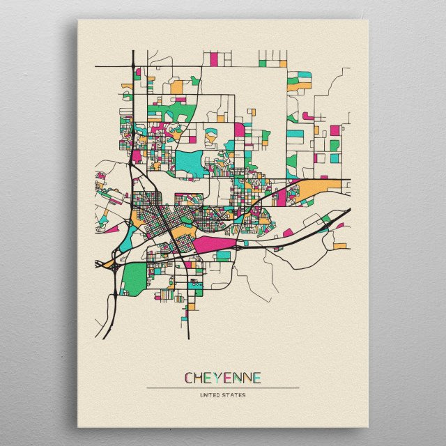 Colorful street map of Cheyenne, Wyoming. The map is randomly painted with modern and pop colors to give abstract look to the design. metal poster