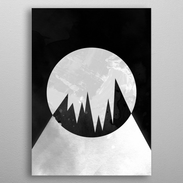 There's a dark side to the moon. This is the view of the moon white some trees in front. Or is it a fragmented moon? It's up to you. metal poster