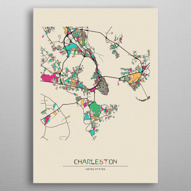 Colorful street map of Charleston, South Carolina. The map is randomly painted with modern & pop colors to give abstract look to the design. metal poster