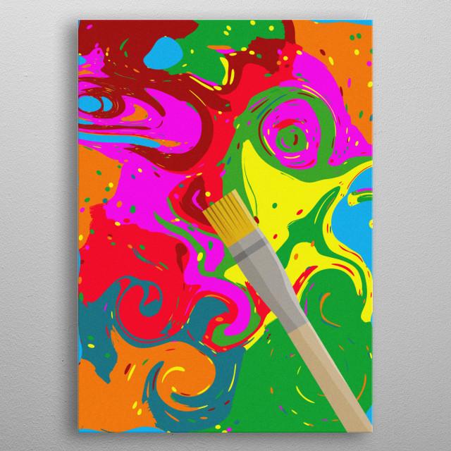 An illustration showing random colors metal poster