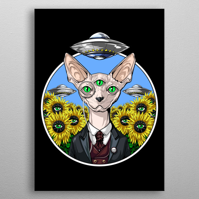 Alien Abduction Sphynx Cat metal poster for psychedelics lovers. metal poster