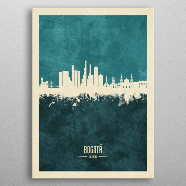 Watercolor art print of the skyline of Bogotá, Colombia metal poster